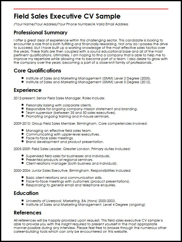 Field Sales Executive CV Sample MyperfectCV