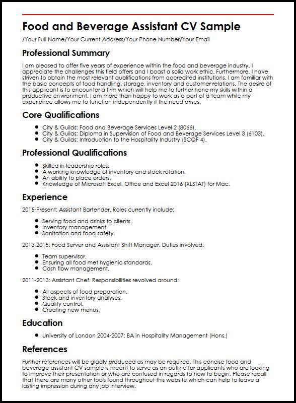 Food and Beverage Assistant CV Sample MyperfectCV - food safety manager sample resume