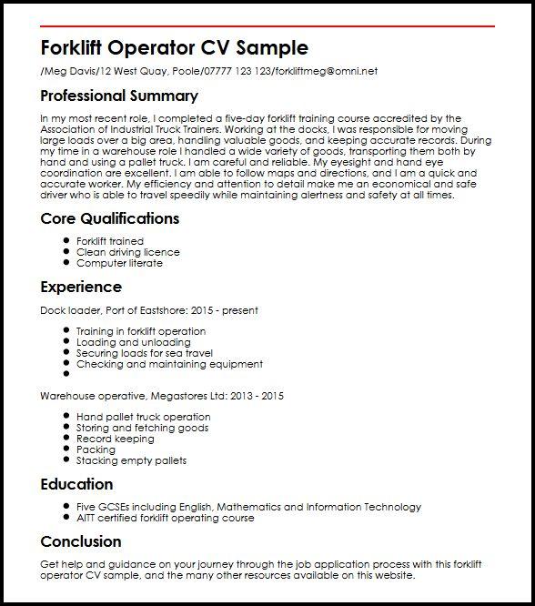 sample resume for forklift operator