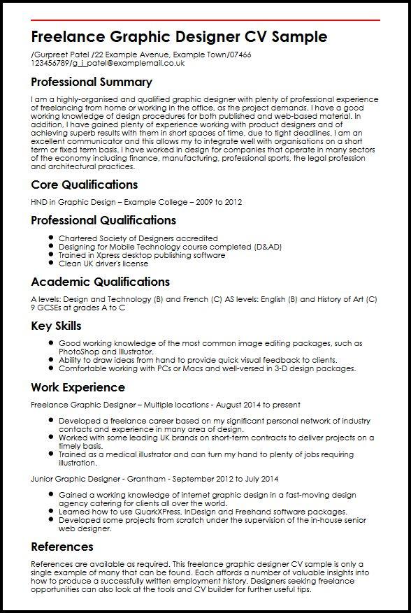 Freelance Graphic Designer CV Sample MyperfectCV - Freelance Resume Samples
