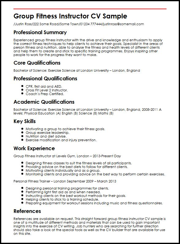 Group Fitness Instructor CV Sample MyperfectCV