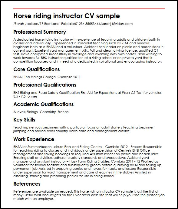 Volunteer Resume Sample Resumes Misc Livecareer Horse Riding Instructor Cv Sample Myperfectcv