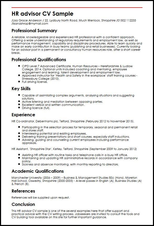 sample resume for management advising