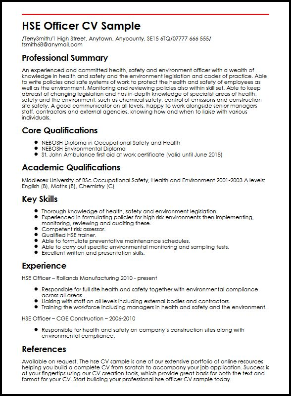 HSE Officer CV Sample MyperfectCV