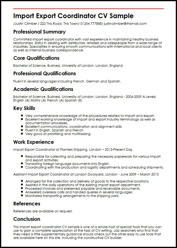 Import Export Coordinator CV Sample MyperfectCV