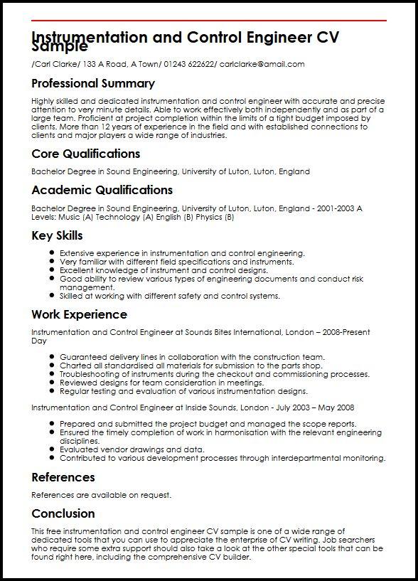 Instrumentation and Control Engineer CV Sample MyperfectCV - field engineer resume sample