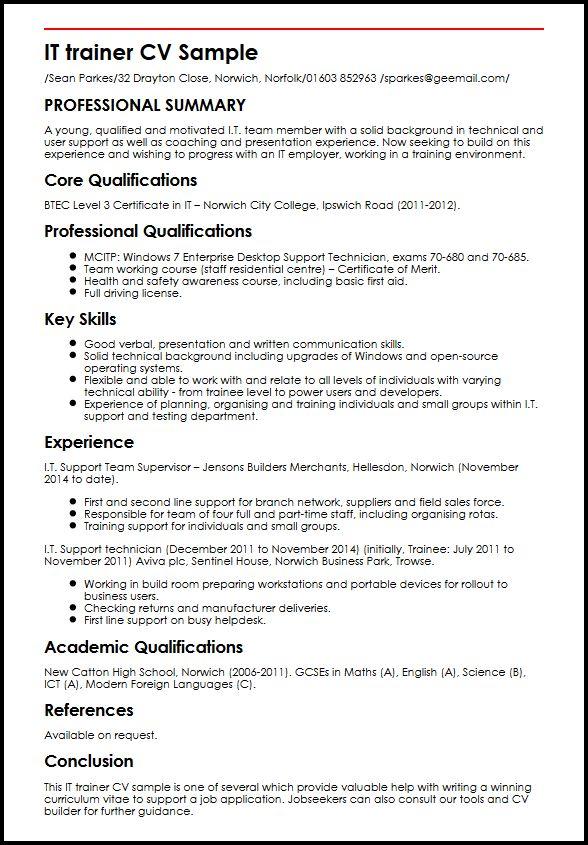 IT trainer CV Sample MyperfectCV - field trainer sample resume