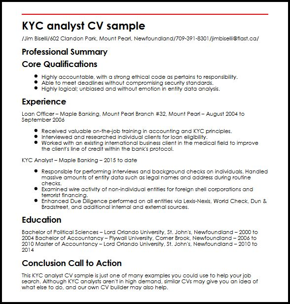 KYC analyst CV Sample MyperfectCV