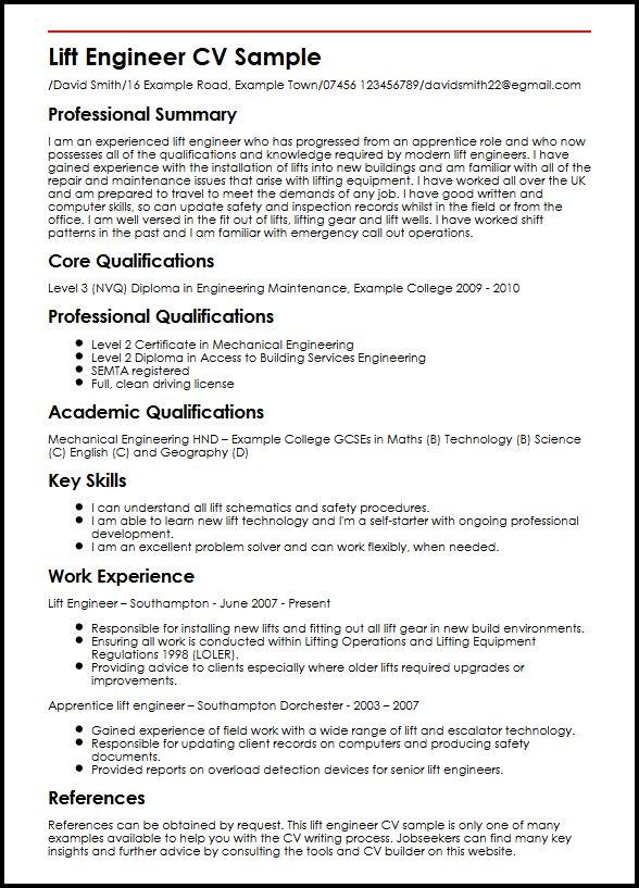 Resume Examples Lift Engineer Cv Sample Myperfectcv