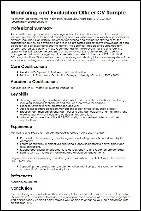 Monitoring and Evaluation Officer CV Sample MyperfectCV