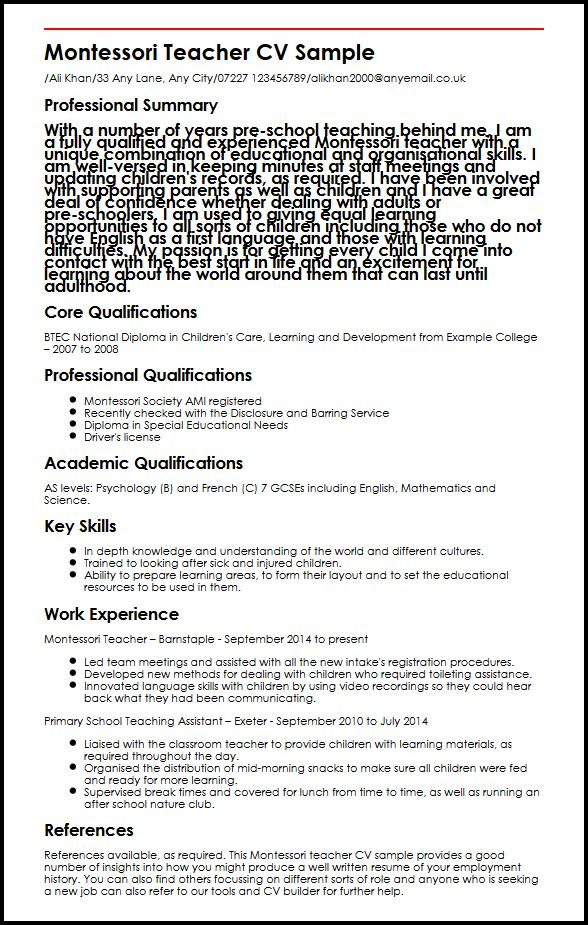 Montessori Teacher CV Sample MyperfectCV