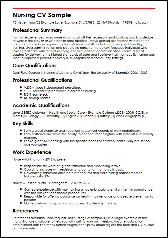 Nursing CV Sample MyperfectCV - Nursing Resume Sample