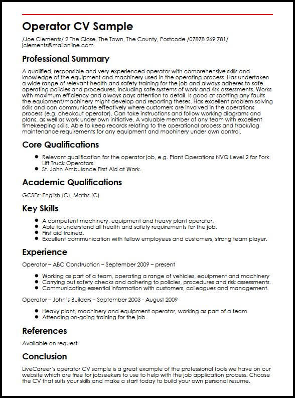 Security Officer Sample Resume Cvtips Operator Cv Sample Myperfectcv