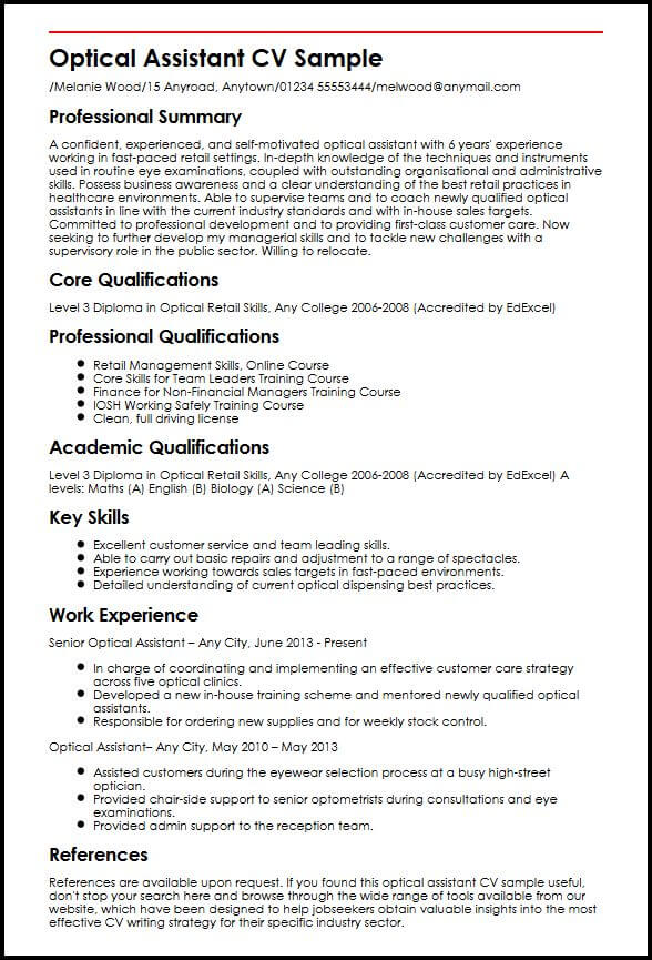 Optical Assistant CV Sample MyperfectCV - optician assistant sample resume