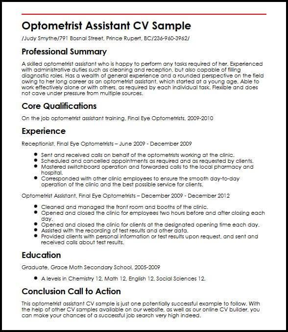 Optometrist Assistant CV Sample MyperfectCV - optician assistant sample resume