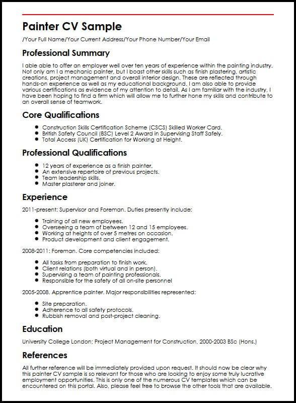 Painter CV Sample MyperfectCV