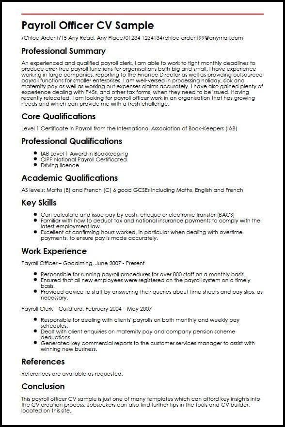 Payroll Officer CV Sample MyperfectCV