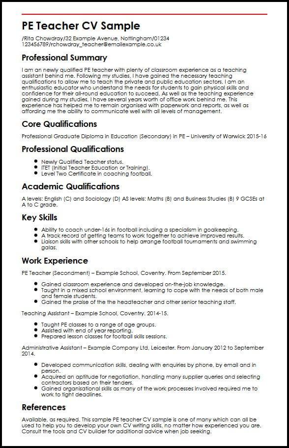 sample of resume for teaching job xv-gimnazija