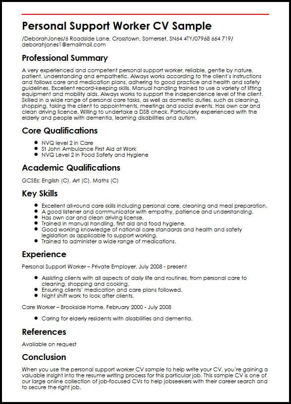 Cv Examples Uk Care Assistant - marchigianadoc