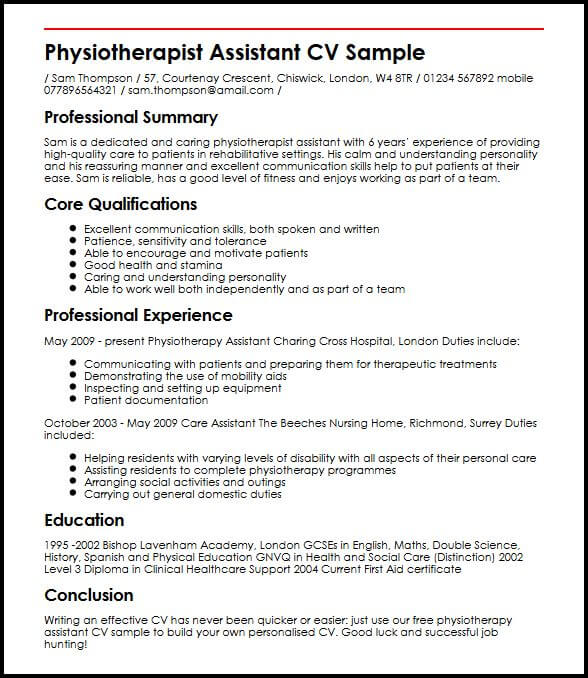 Physiotherapist Assistant CV Sample MyperfectCV - assistant physiotherapist resume