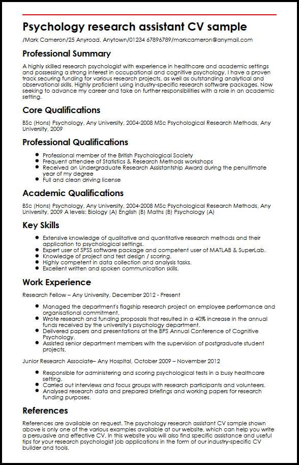 Psychology research assistant CV sample MyperfectCV