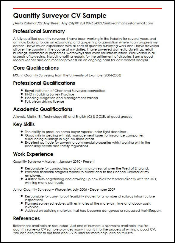 Quantity Surveyor CV Sample MyperfectCV