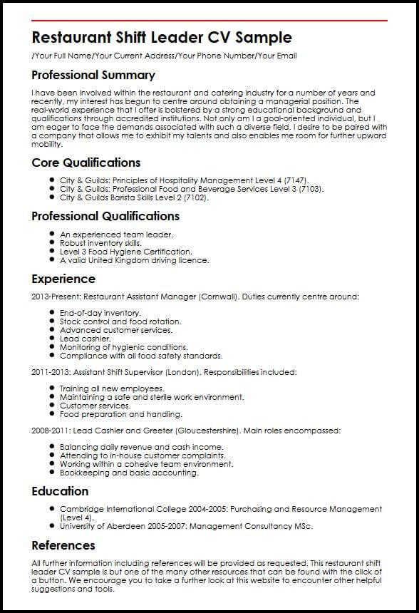 Restaurant Shift Leader CV Sample MyperfectCV - team leader resume sample