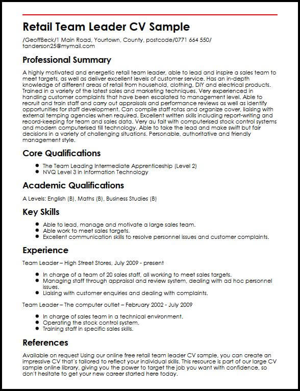Retail Team Leader CV Sample MyperfectCV - team leader resume sample