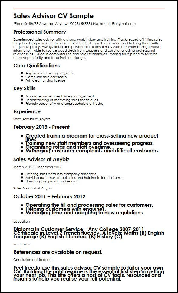 Sales Advisor CV Sample MyperfectCV