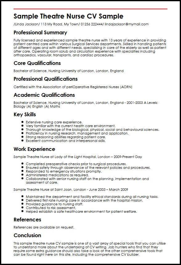 Sample Theatre Nurse CV Sample MyperfectCV - perioperative nurse sample resume