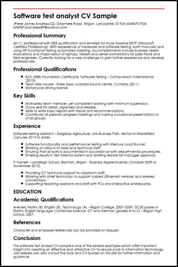 Software test analyst CV Sample MyperfectCV