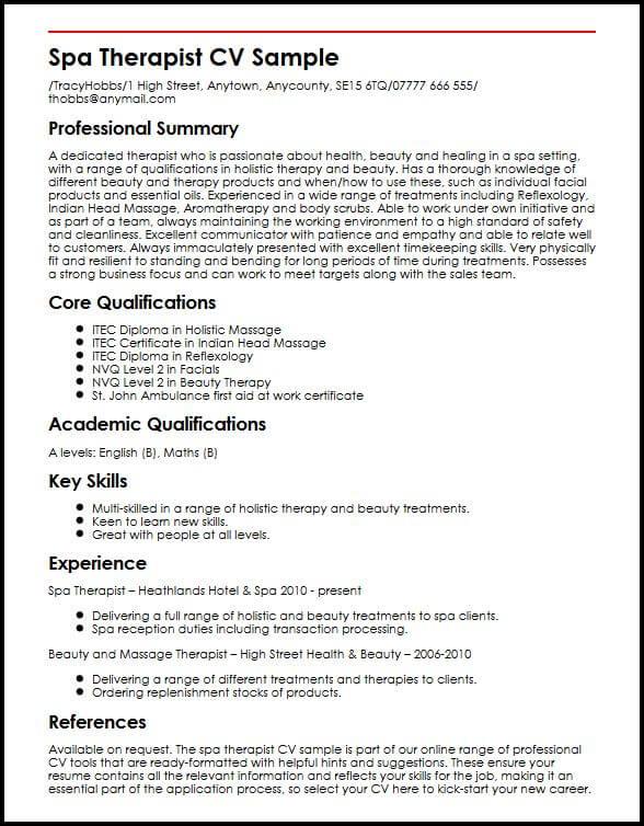 Spa Therapist CV Sample MyperfectCV - Resume Key Skills