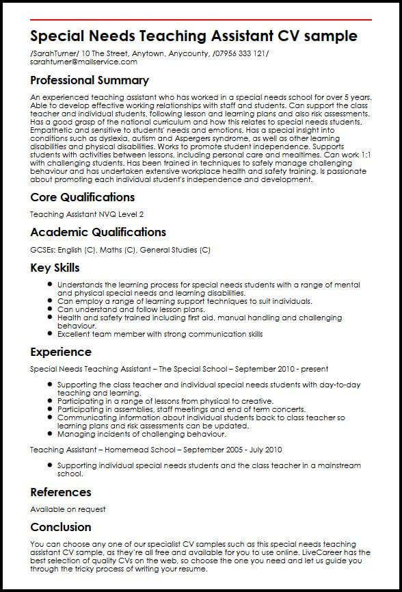 Special Needs Teaching Assistant CV sample MyperfectCV - Teaching Assistant Resume Example