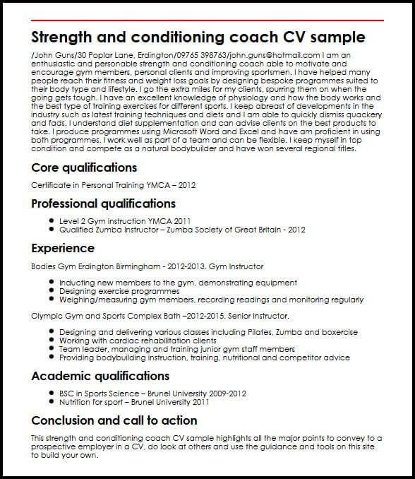 Strength and conditioning coach CV sample MyperfectCV - strength and conditioning coach sample resume