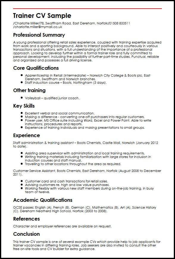 Trainer CV Sample MyperfectCV - inclusion assistant sample resume