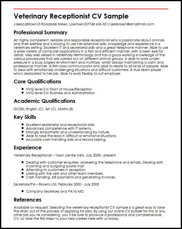Curriculum Vitae Veterinary Example