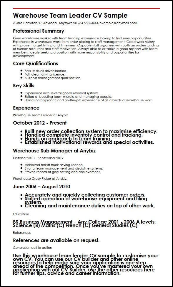 Warehouse Team Leader CV Sample MyperfectCV - team leader resume sample