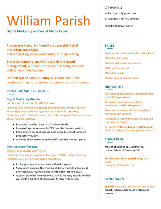 CV Examples CV Samples MyPerfectCV - cv examples for undergraduates