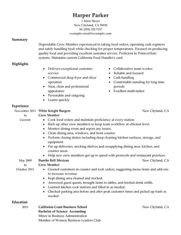 Translator Resume Sample One Service Resume Crew Member Resume Sample My Perfect Resume