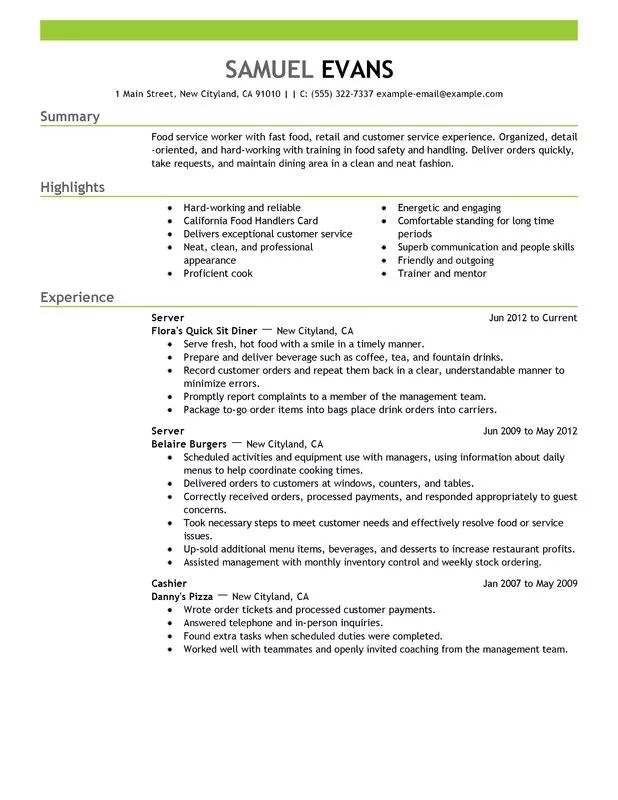 Unforgettable Fast Food Server Resume Examples to Stand Out - summary example resume