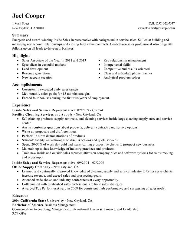 Unforgettable Inside Sales Resume Examples to Stand Out - sample resume for sales associate