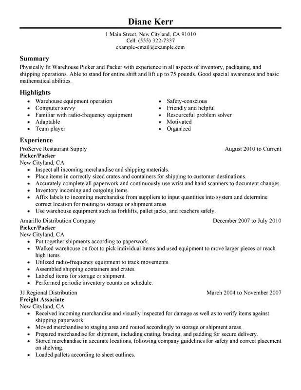 Warehouse stocker resume examples