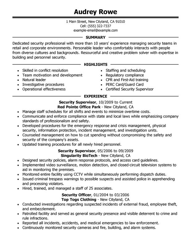 Unforgettable Security Supervisor Resume Examples to Stand Out - security sample resume