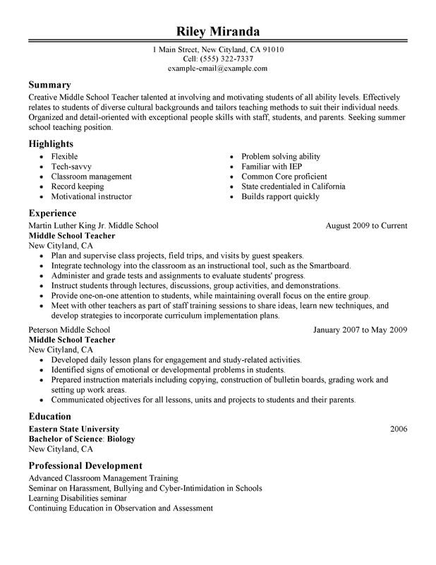 sample middle school teacher resume sample middle school teacher resume free template samples science