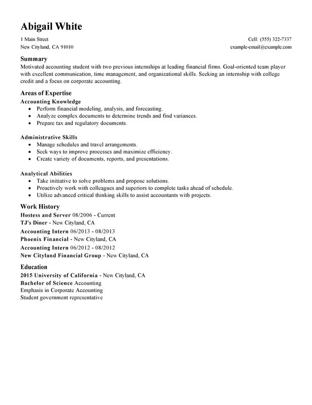 Unforgettable Training Internship College Credits Resume Examples - accounting student resume