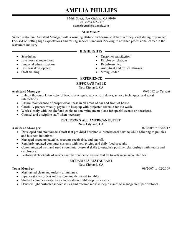 Unforgettable Assistant Restaurant Manager Resume Examples to Stand - sample assistant manager resume