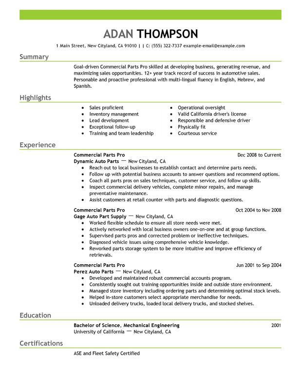 Commercial Parts Pro Resume Examples \u2013 Free to Try Today - automotive mechanical engineer sample resume