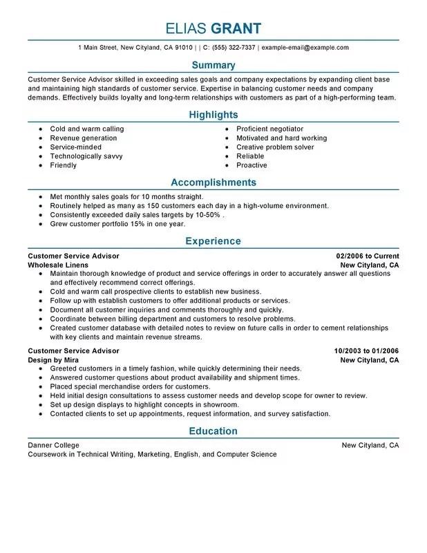 Customer Service Advisor Resume Examples \u2013 Free to Try Today - sales and customer service resume