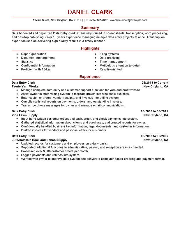 Data Entry Clerk Resume Examples \u2013 Free to Try Today MyPerfectResume - data entry sample resume