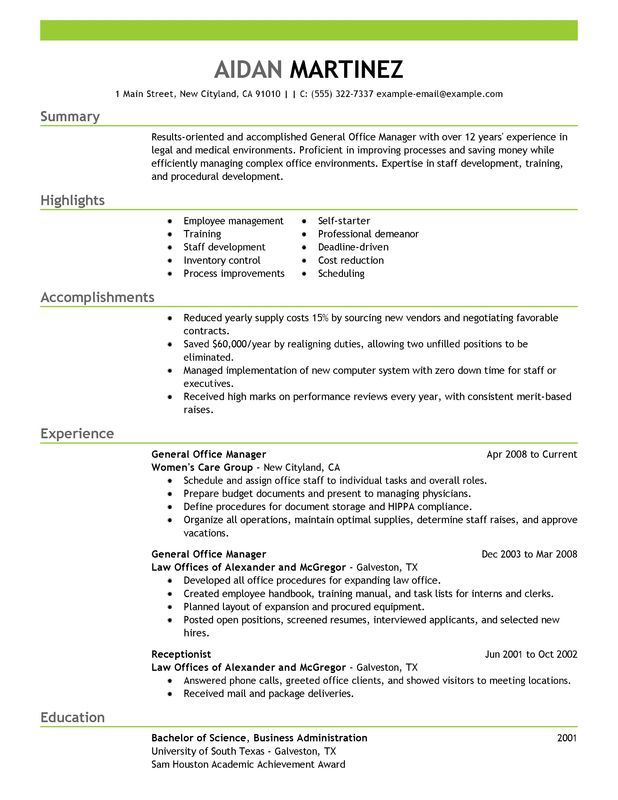 General Manager Resume Examples \u2013 Free to Try Today MyPerfectResume - assistant general manager resume